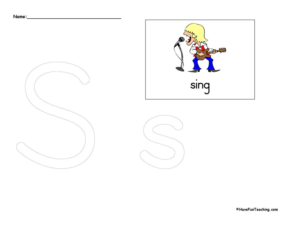 Letter S Tracing Worksheet