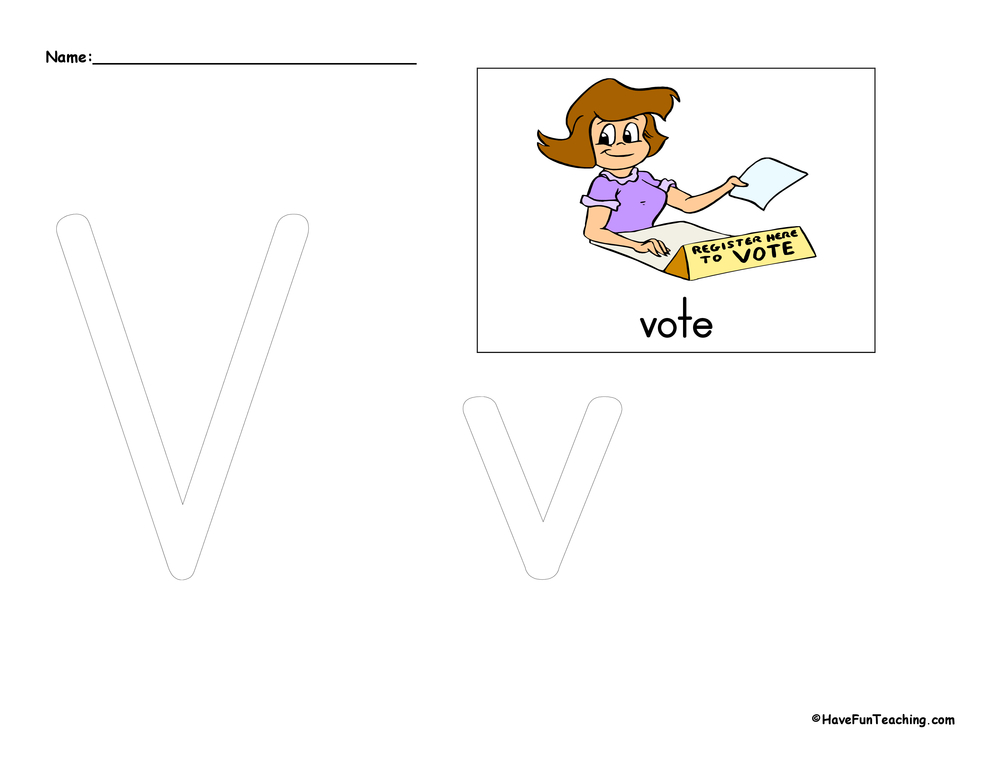 Letter V Tracing Worksheet