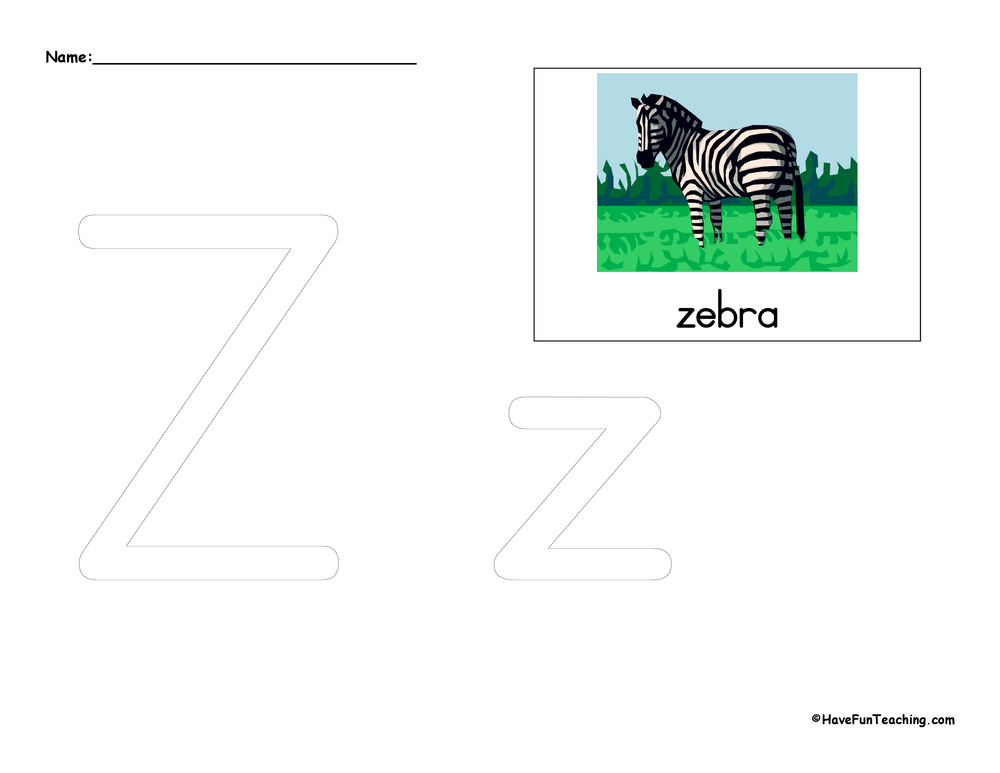 Letter Z Tracing Worksheet Have Fun Teaching