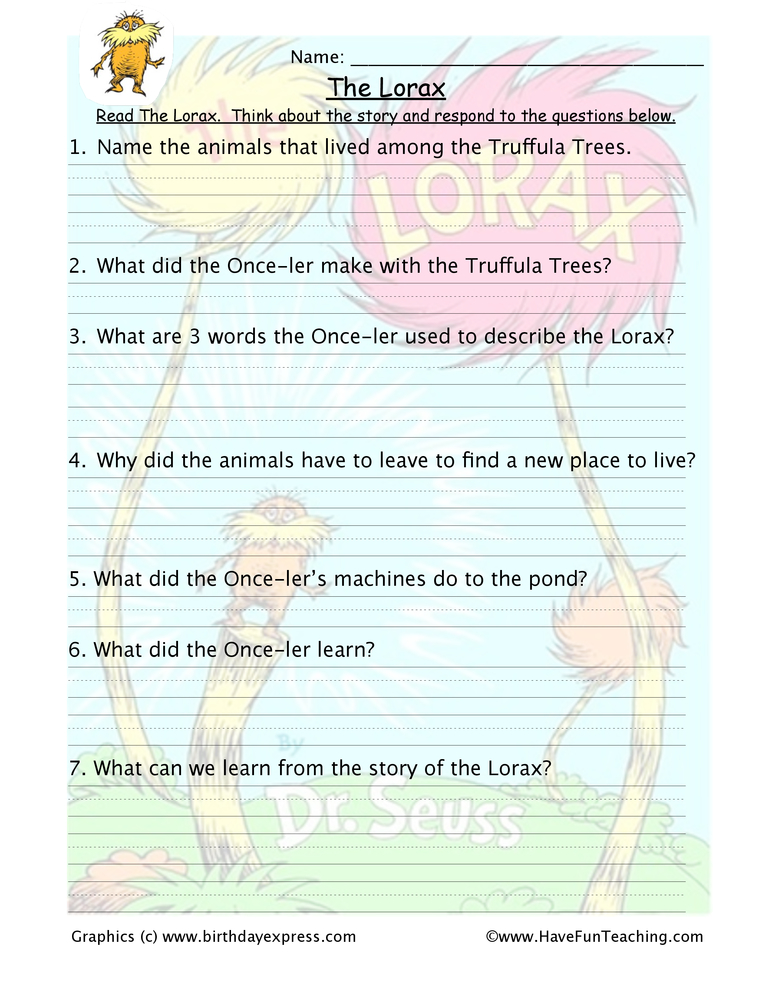 Printables Lorax Worksheets the lorax reading comprehension worksheet have fun teaching worksheet