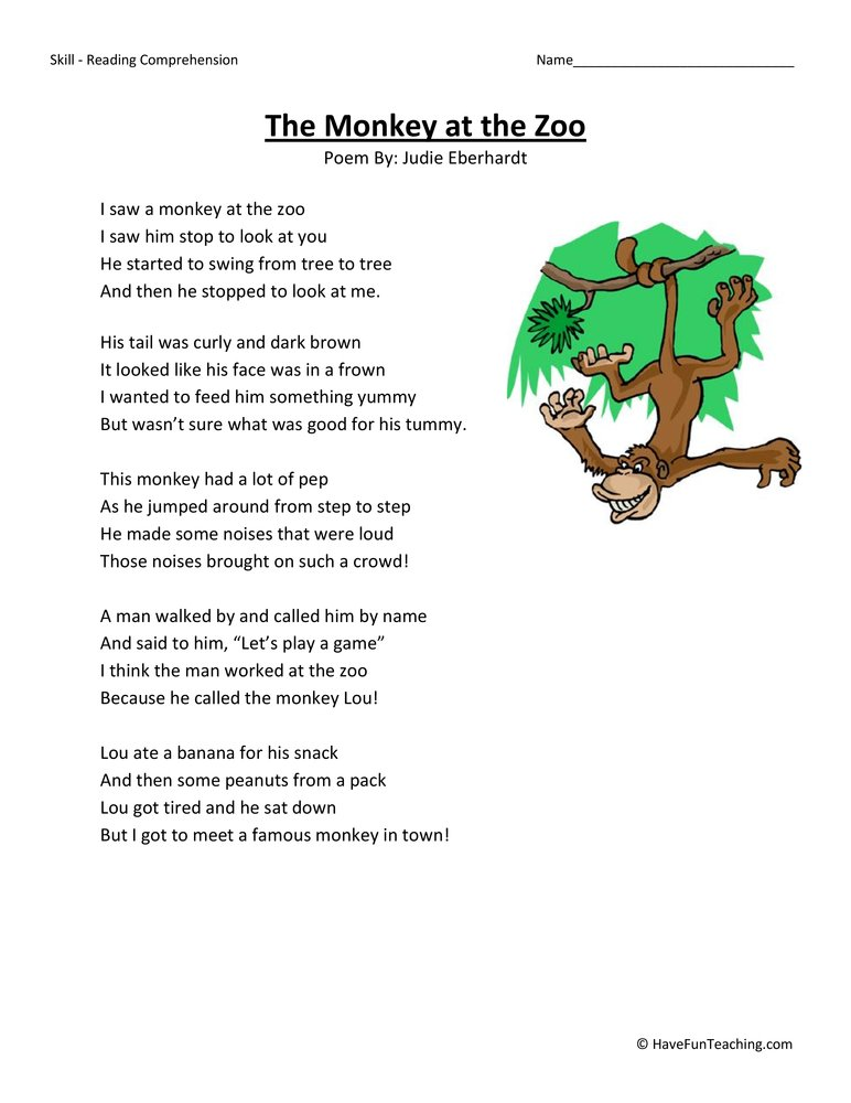 the-monkey-at-the-zoo-second-grade-reading-comprehension-worksheet