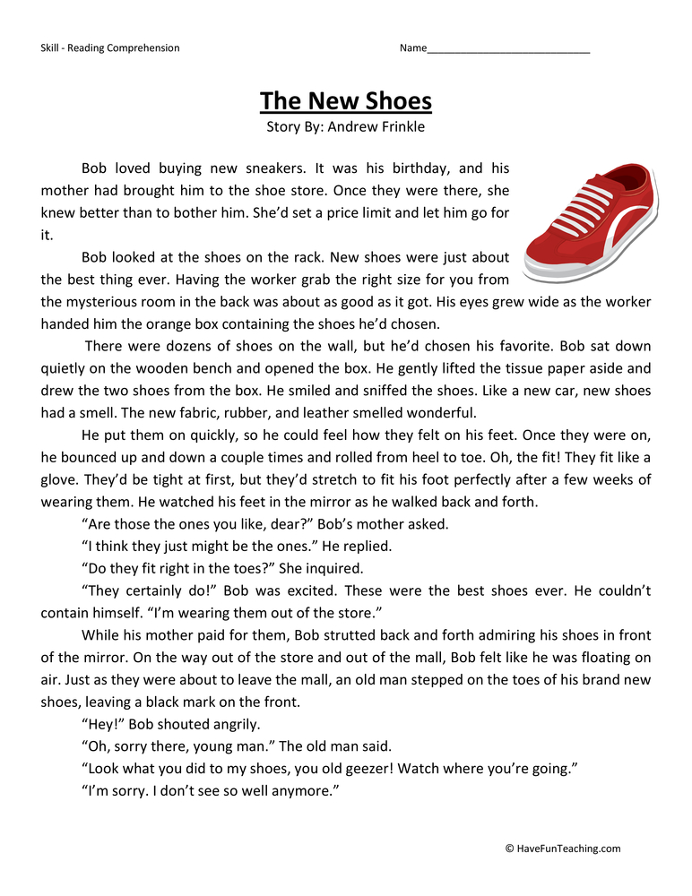 The New Shoes - Reading Comprehension Worksheet