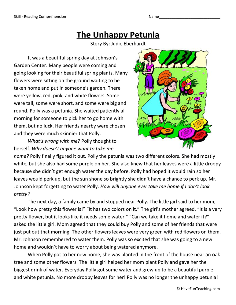 The Unhappy Petunia Reading Comprehension Worksheet Have