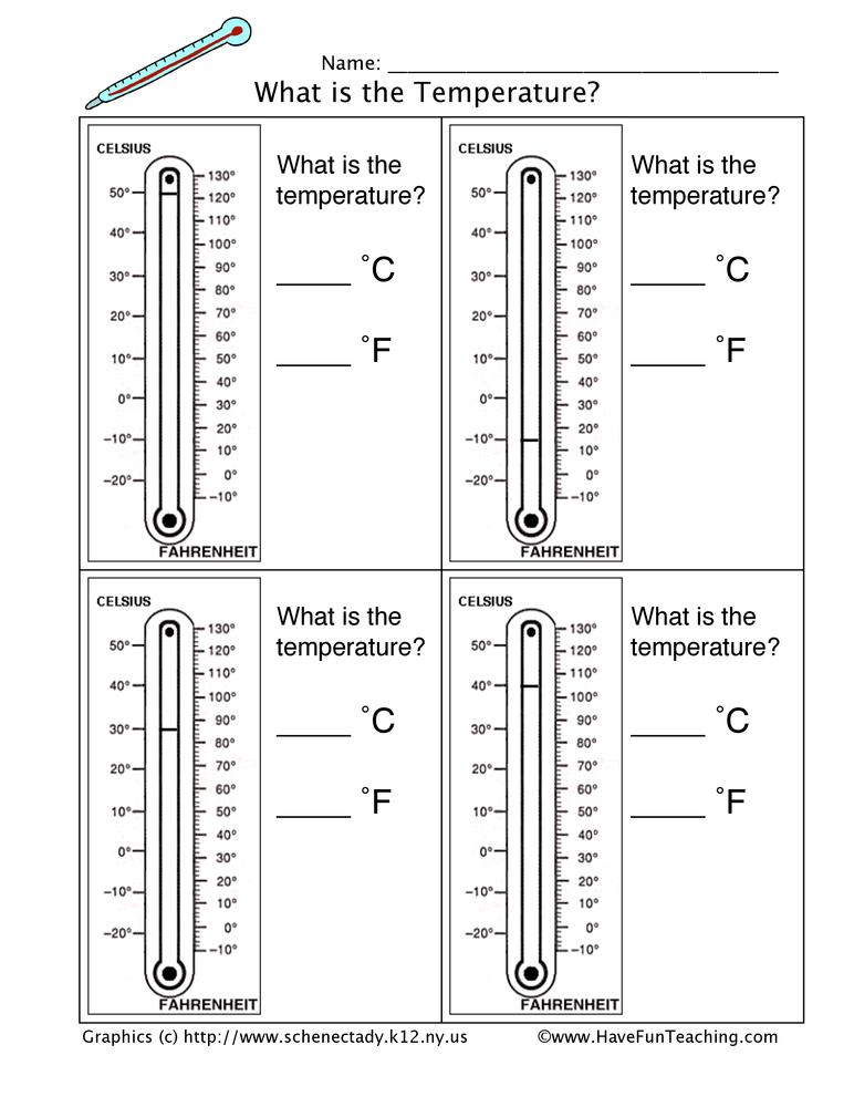 Thermometer Worksheet - Have Fun Teaching