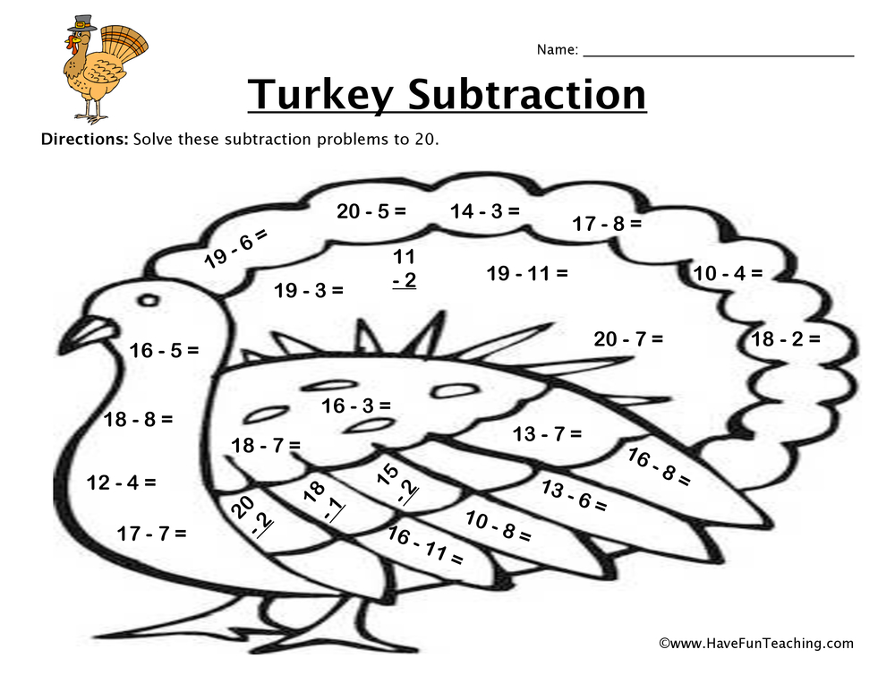 Thanksgiving Turkey Subtraction Worksheet | Have Fun Teaching