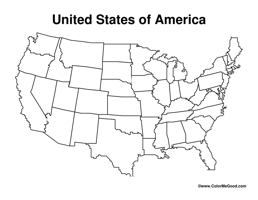 united states printable blank map