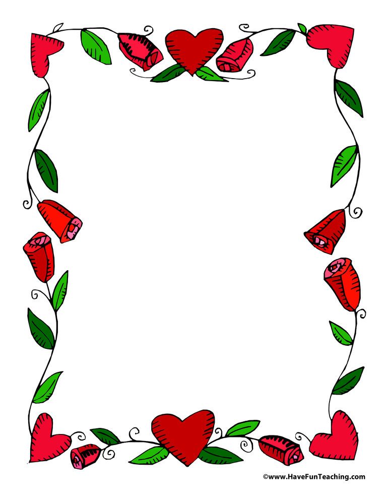 Valentine's Day Hearts and Vines Paper