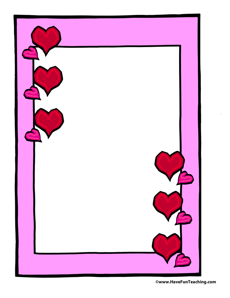 Valentine's Day Hearts Frame Paper