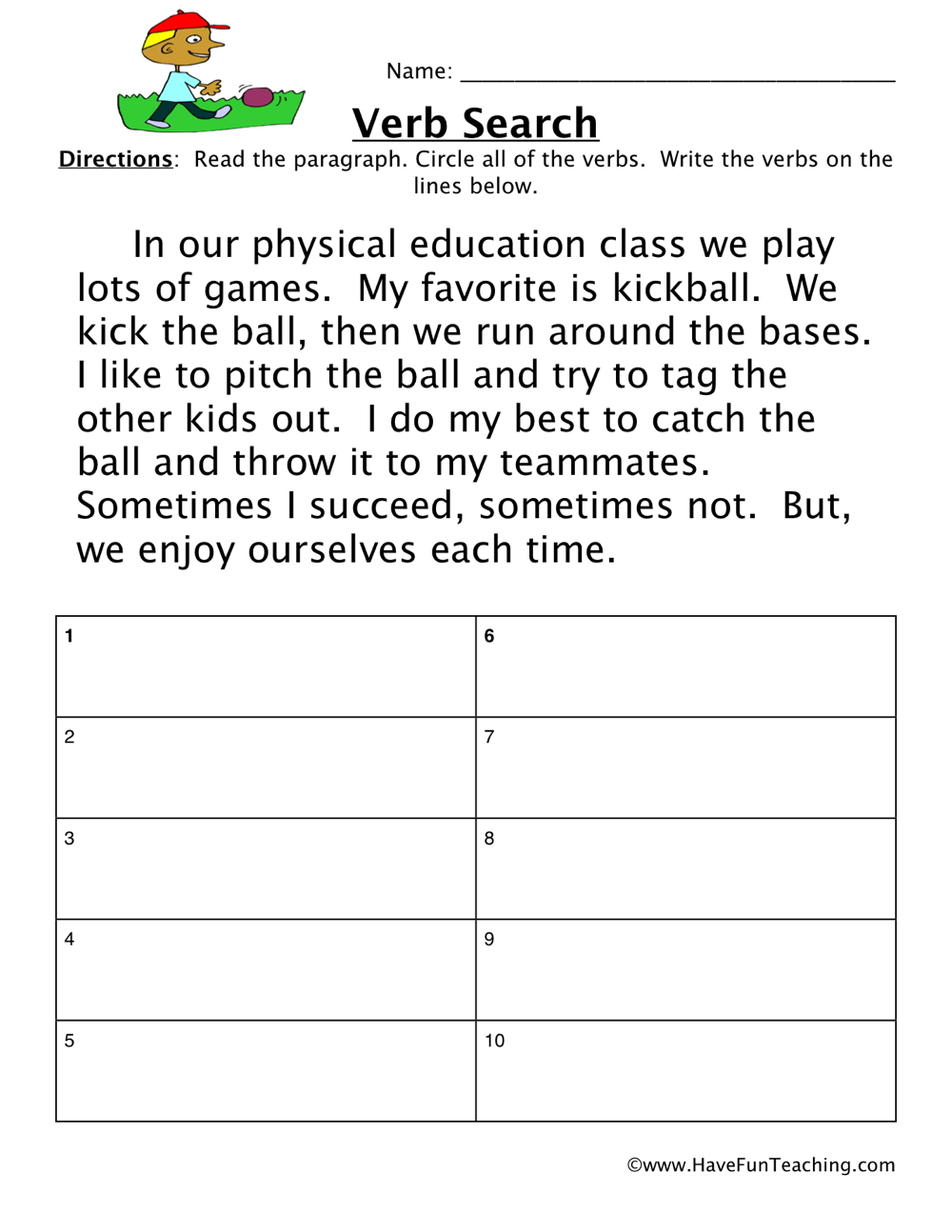 Verbs Worksheets - Page 4 of 4 - Have Fun Teaching