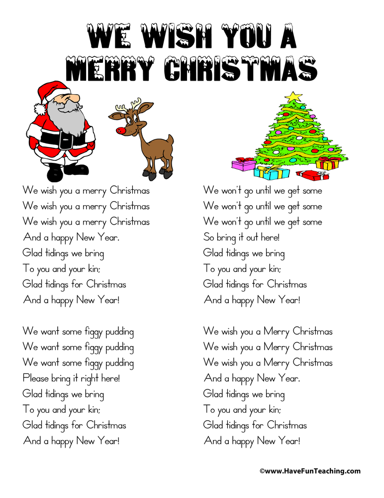 We Wish You A Merry Christmas Lyrics | Have Fun Teaching