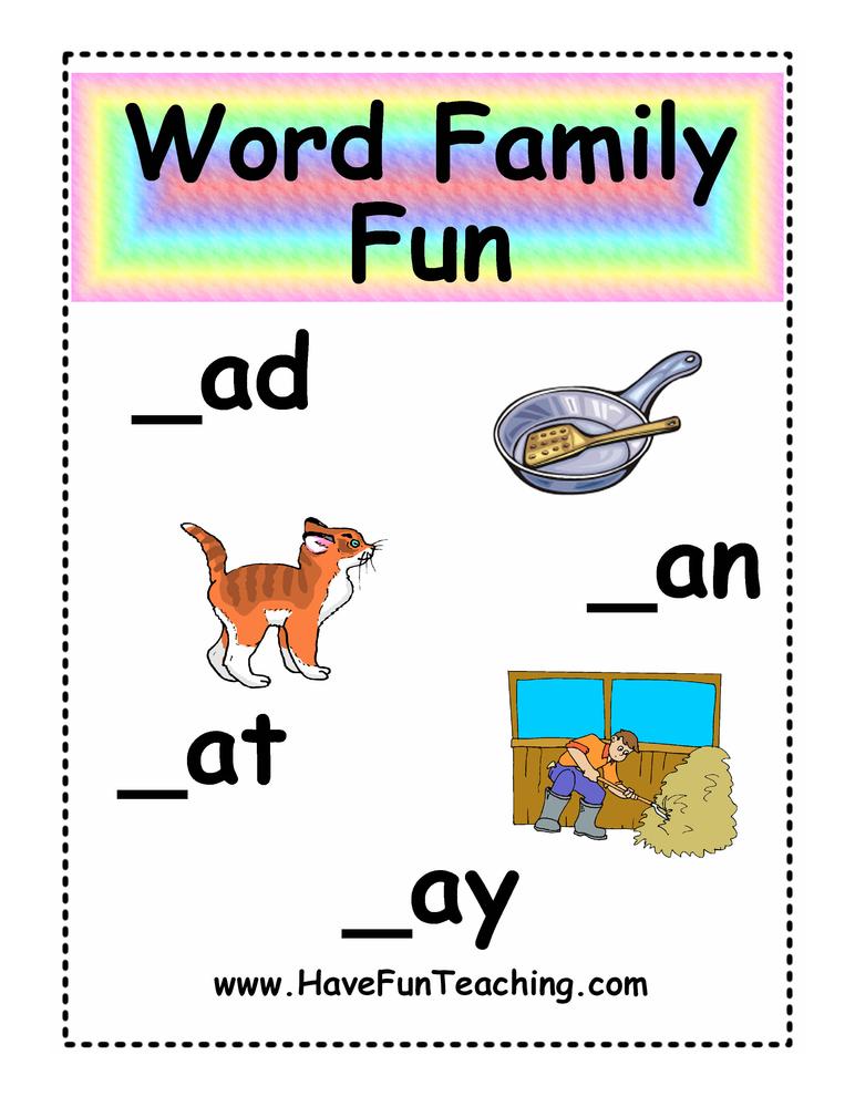 AD, AN, AT, AY Word Family Fun Activity