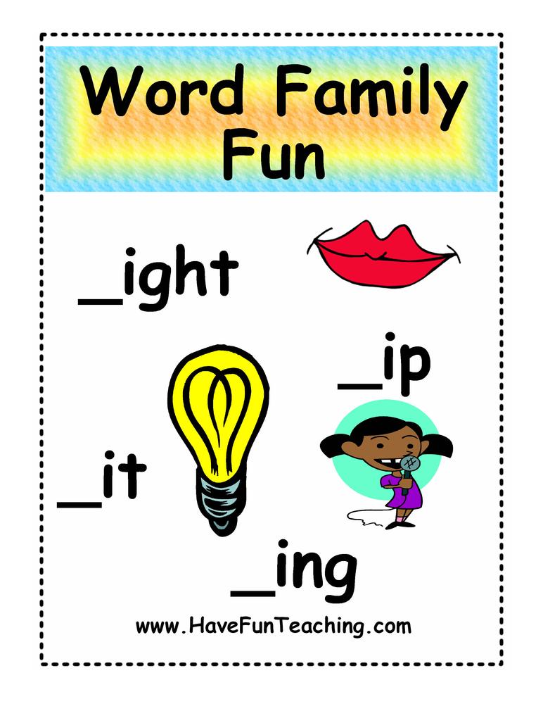 IGHT, ING, IP, IT Word Family Fun Activity