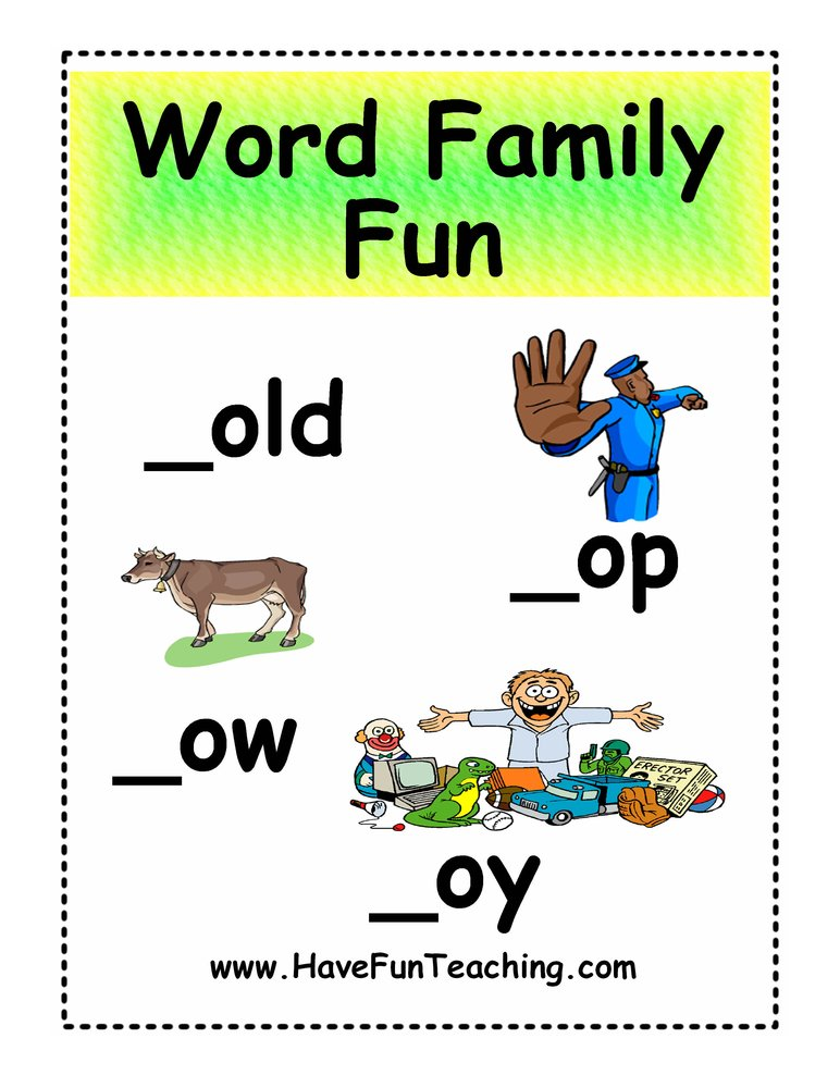 word family fun activity  op ow oy  fun teaching