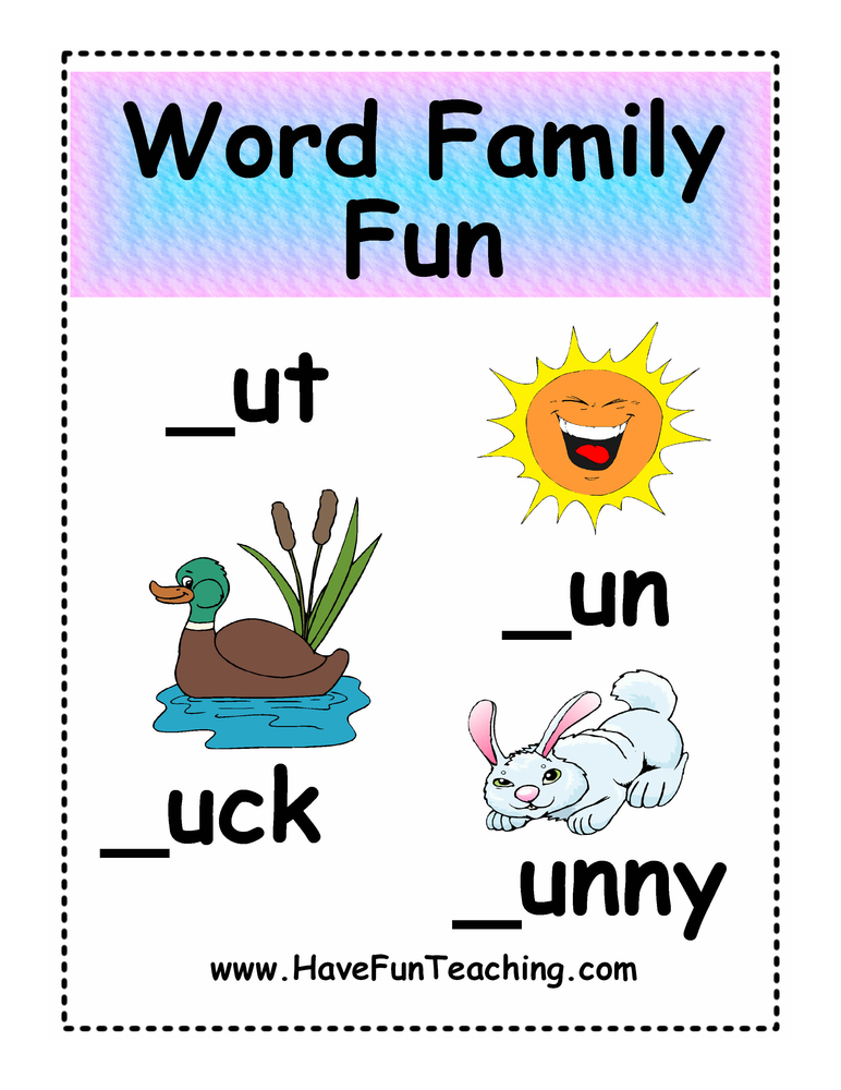 UT, UN, UCK, UNNY Word Family Fun Activity