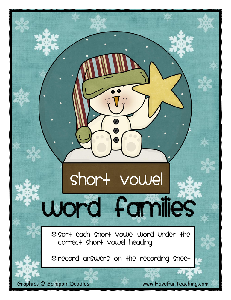 Short Vowel Word Family Activity