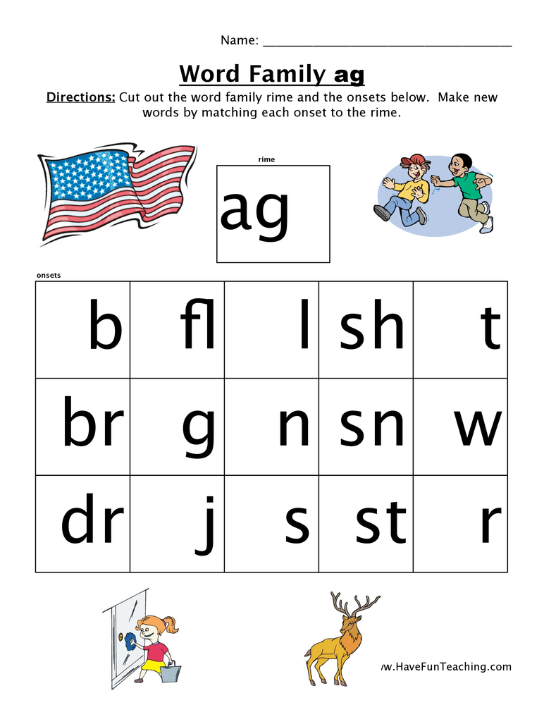 Word Family Worksheet Ag Have Fun Teaching