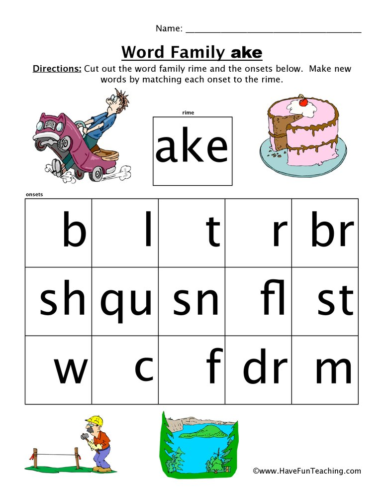 Word Family Worksheet Ake Have Fun Teaching