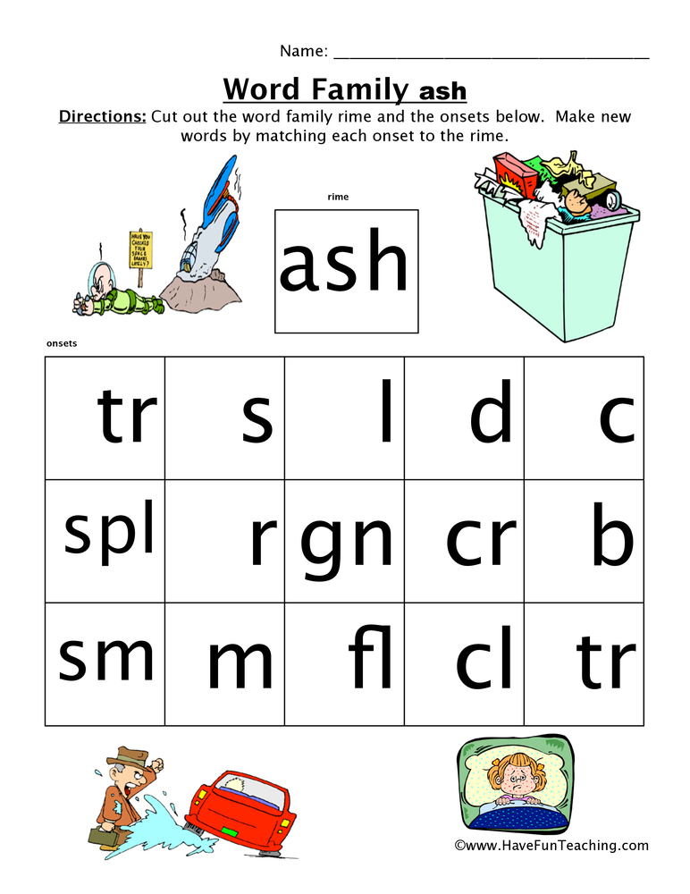 ASH Word Family Worksheet
