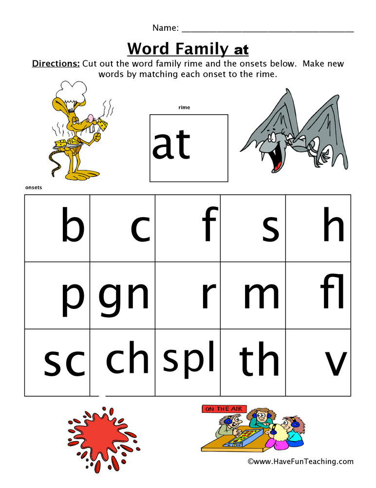 Word Family Worksheets : Word family worksheet at have fun teaching