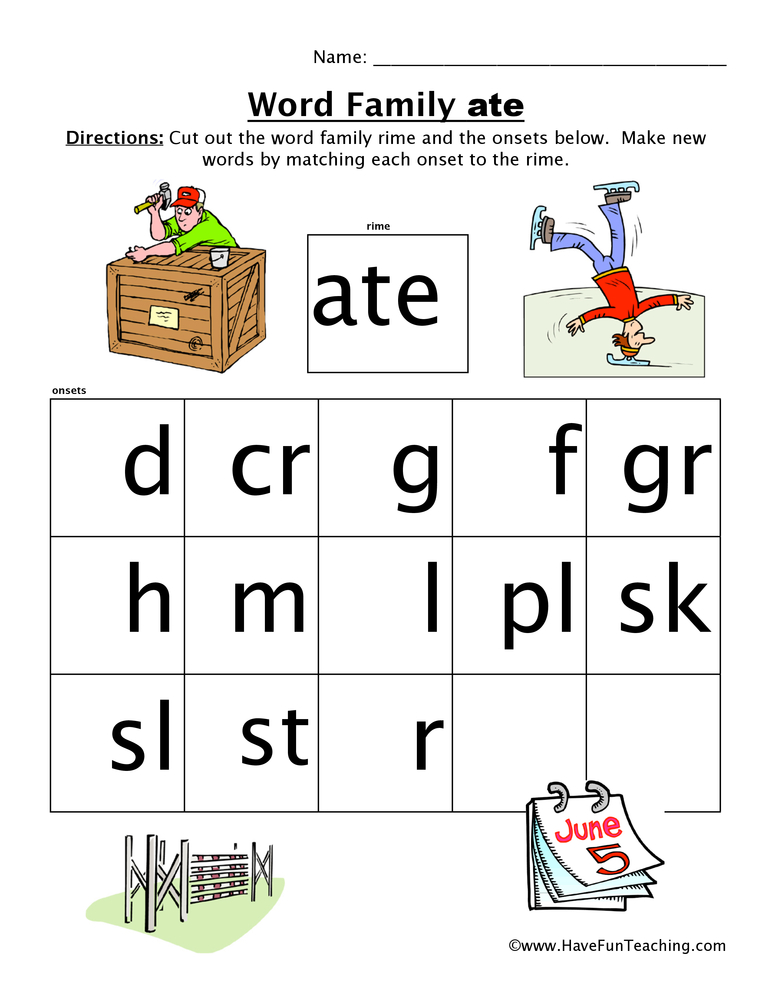 Word Family Worksheets Have Fun Teaching. Word Family Worksheet Ate. Worksheet. Word Family Worksheet At Mspartners.co