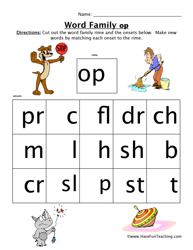 Word Family Worksheet OP – Word Families Worksheet