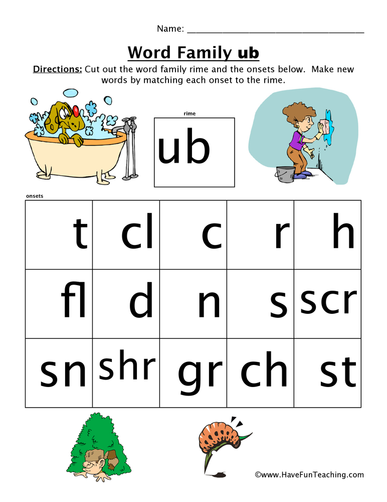 UB Word Family Worksheet