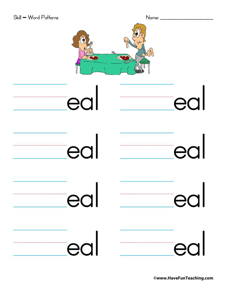 Letter E Word Families Worksheet