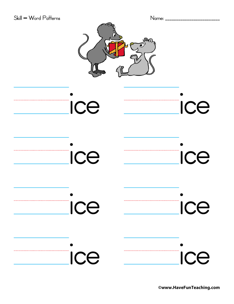 Word Families Worksheet - Letter I