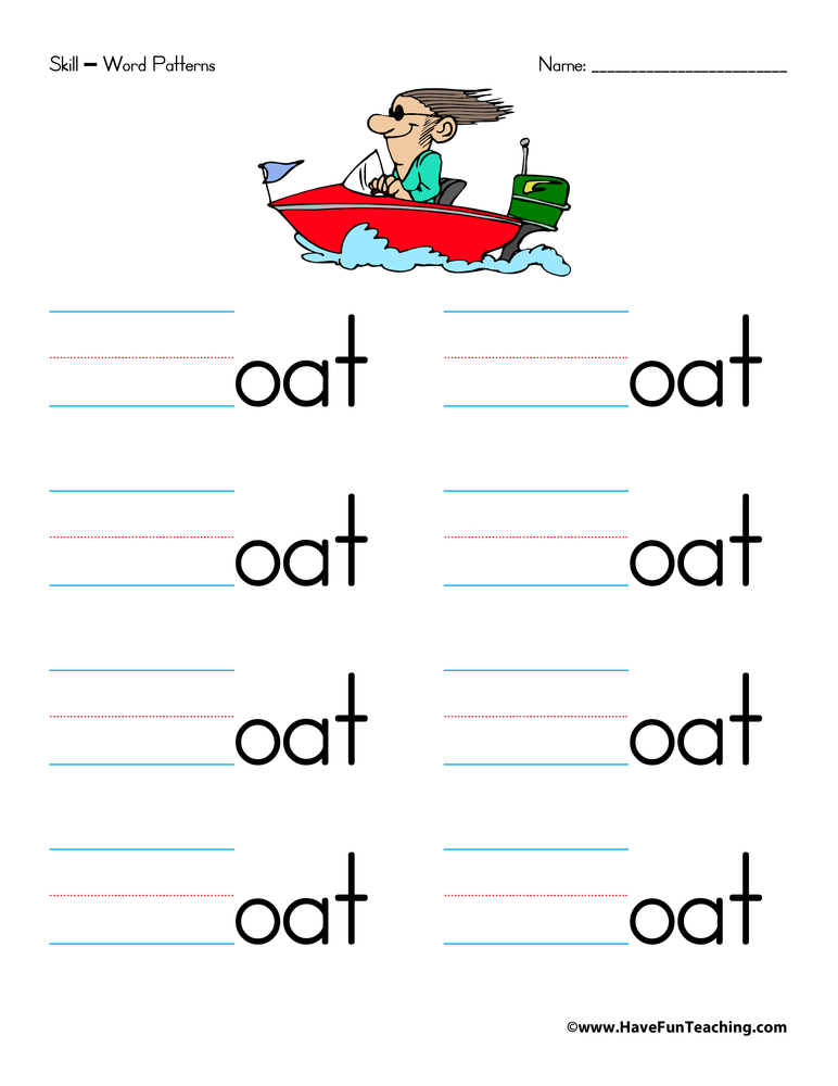 Word Families Worksheet Letter O – Word Families Worksheet
