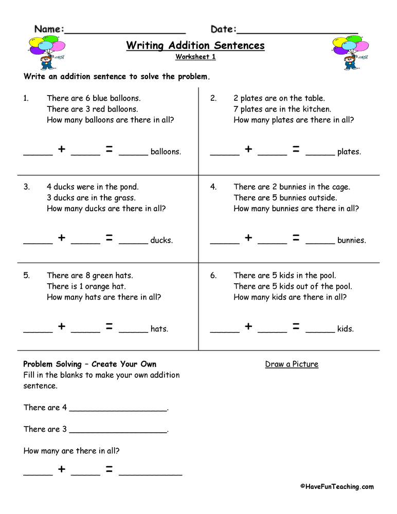 Writing Addition Sentences Worksheet – Writing Sentences Worksheets