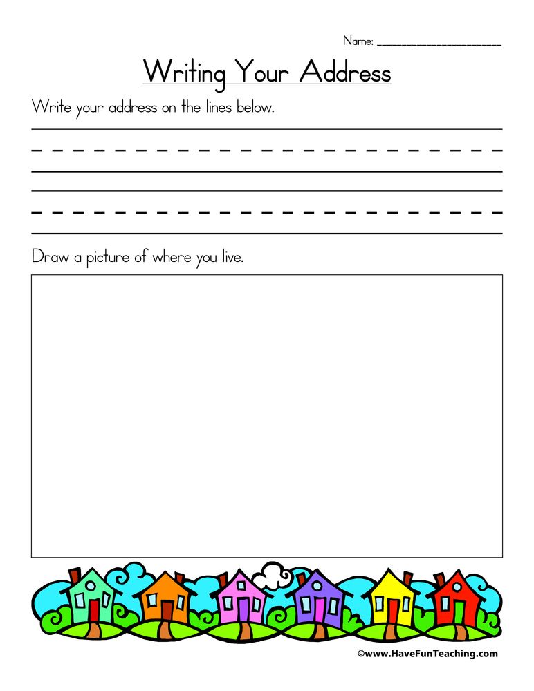 Writing Your Address Worksheet