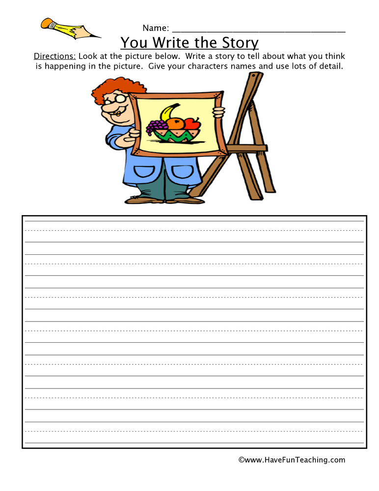 You Write the Story Fruit Picture Worksheet