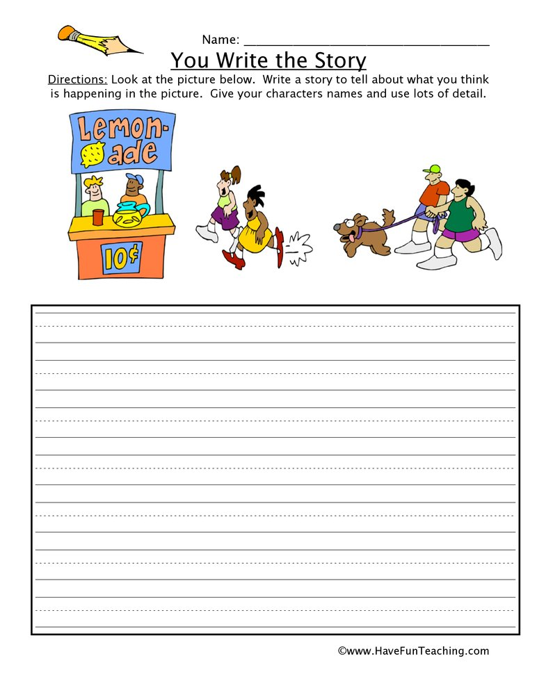 You Write the Story Lemonade Picture Worksheet