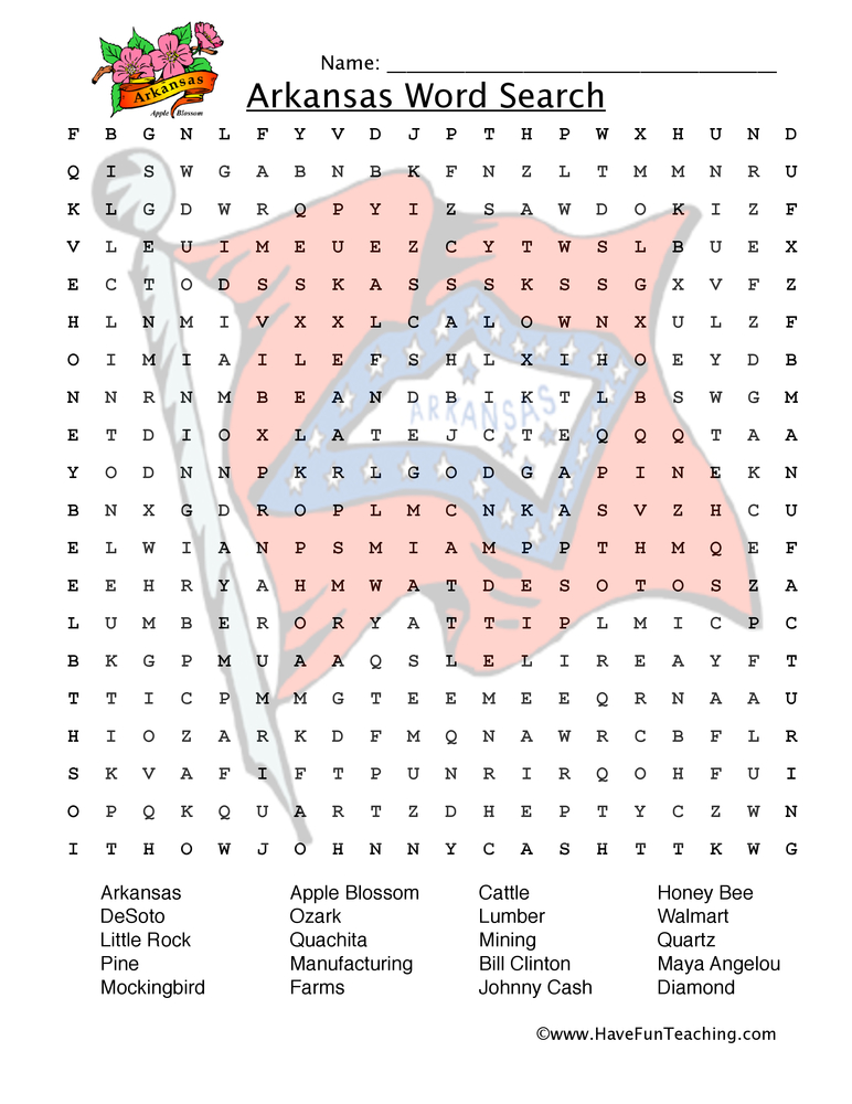 arkansas wordsearch worksheet