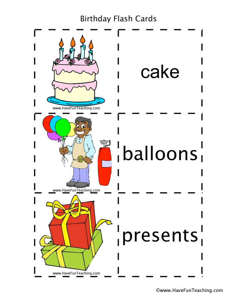 Birthday Flash Cards