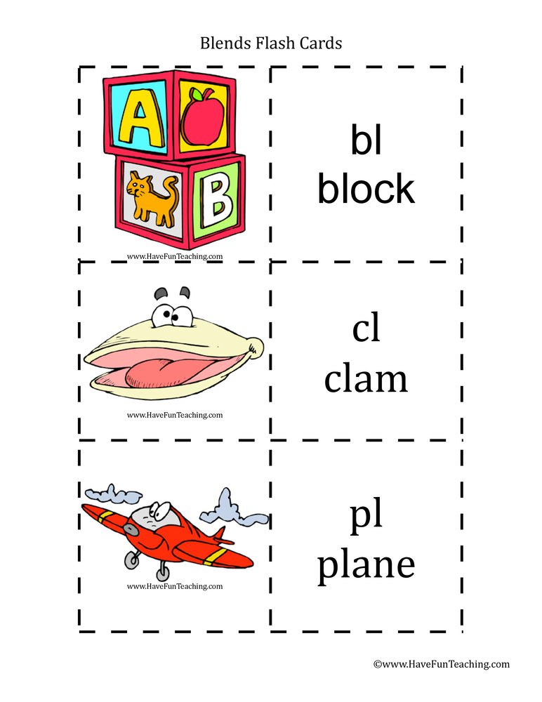 Consonant Blends Flash Cards