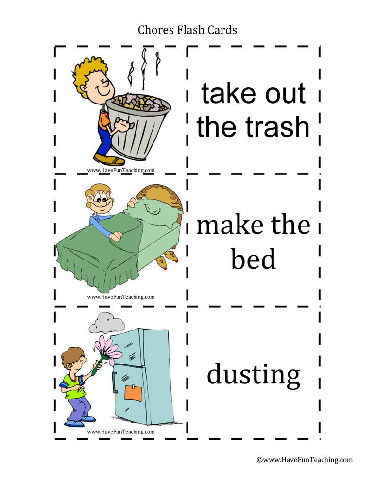Chores Flash Cards