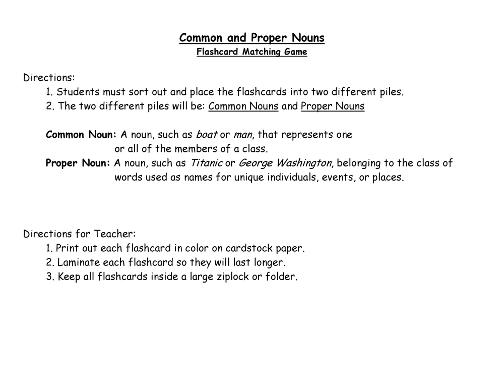 Common and Proper Nouns Flash Cards