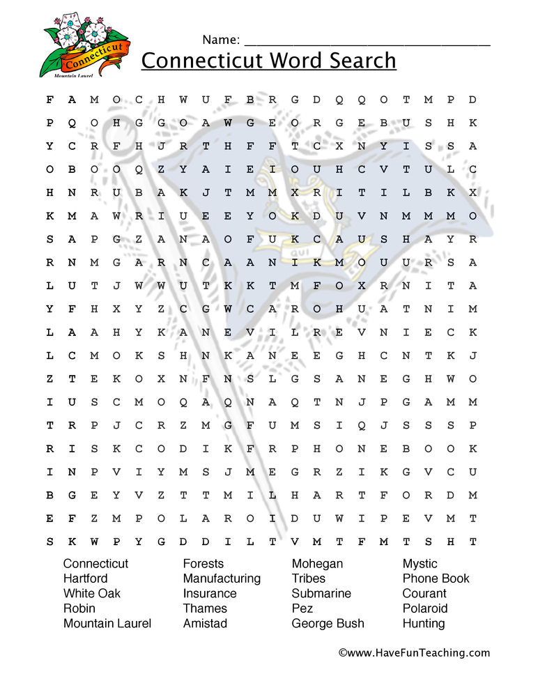 connecticut wordsearch worksheet