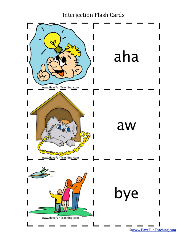 Interjection Flash Cards