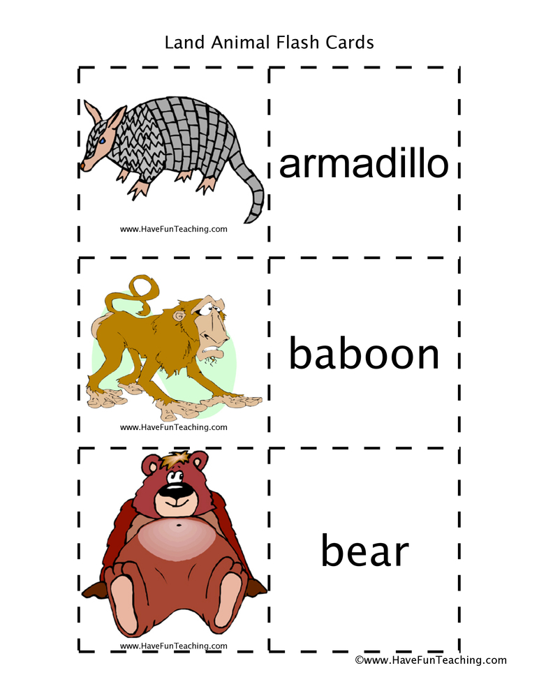 land-animal-flash-cards