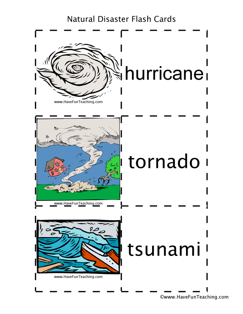 Natural Disasters Flash Cards : Have Fun Teaching