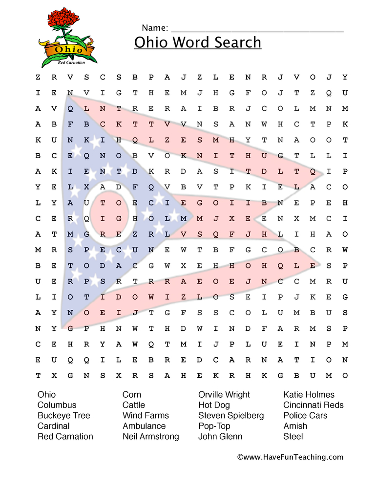 ohio wordsearch worksheet