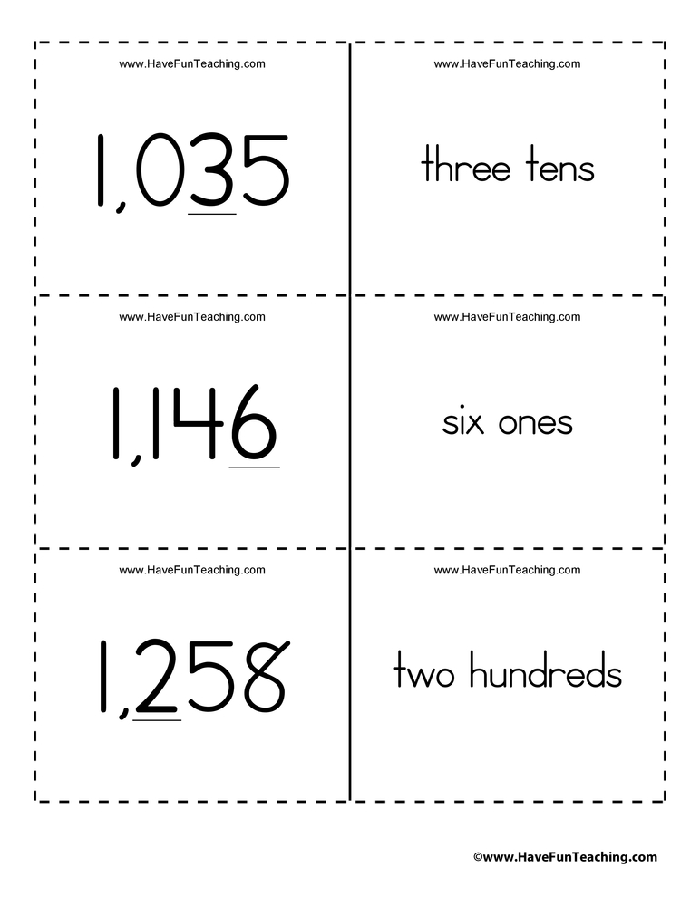 Ones, Tens, Hundreds, Thousands Place Value Flash Cards