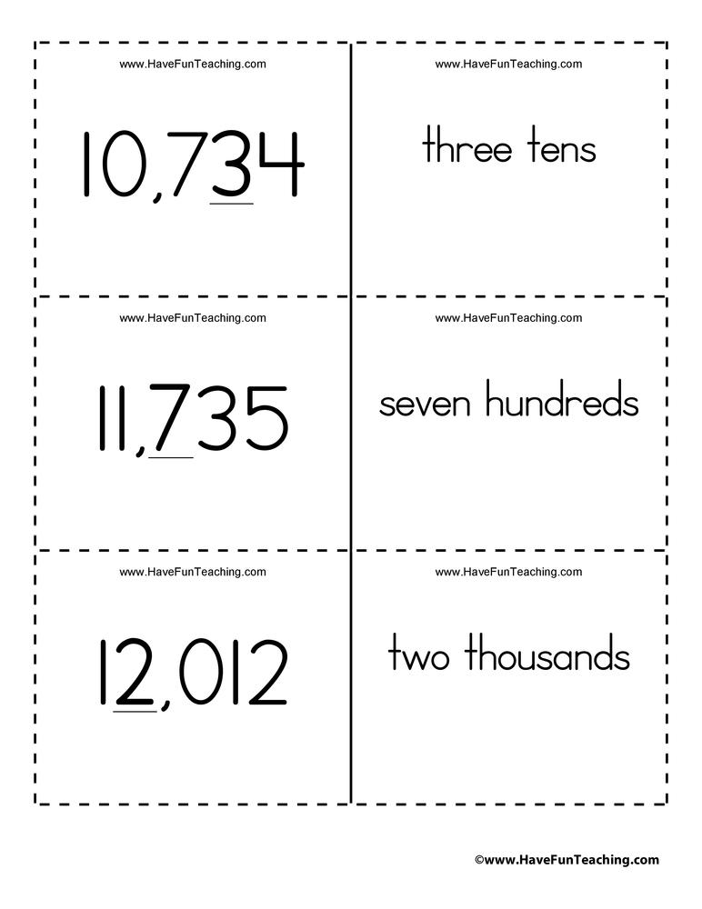 Ones, Tens, Hundreds, Thousands, Ten Thousands Place Value Flash Cards