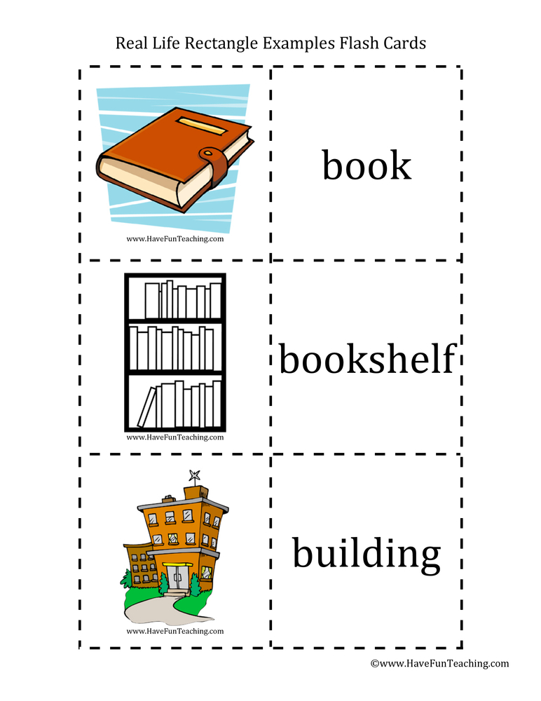 Real Life Examples Rectangle Flash Cards