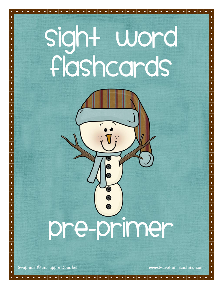 Pre-Primer Snowman Theme Sight Words Flash Cards