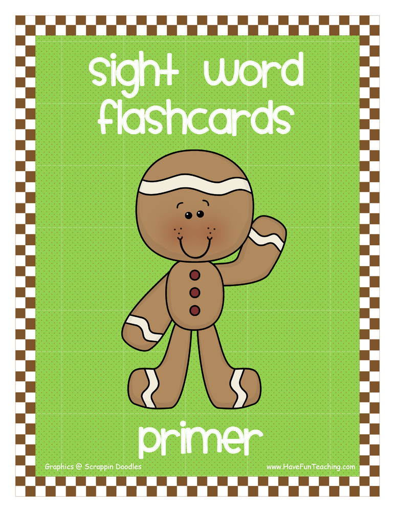 Primer Gingerbread Theme Sight Words Flash Cards