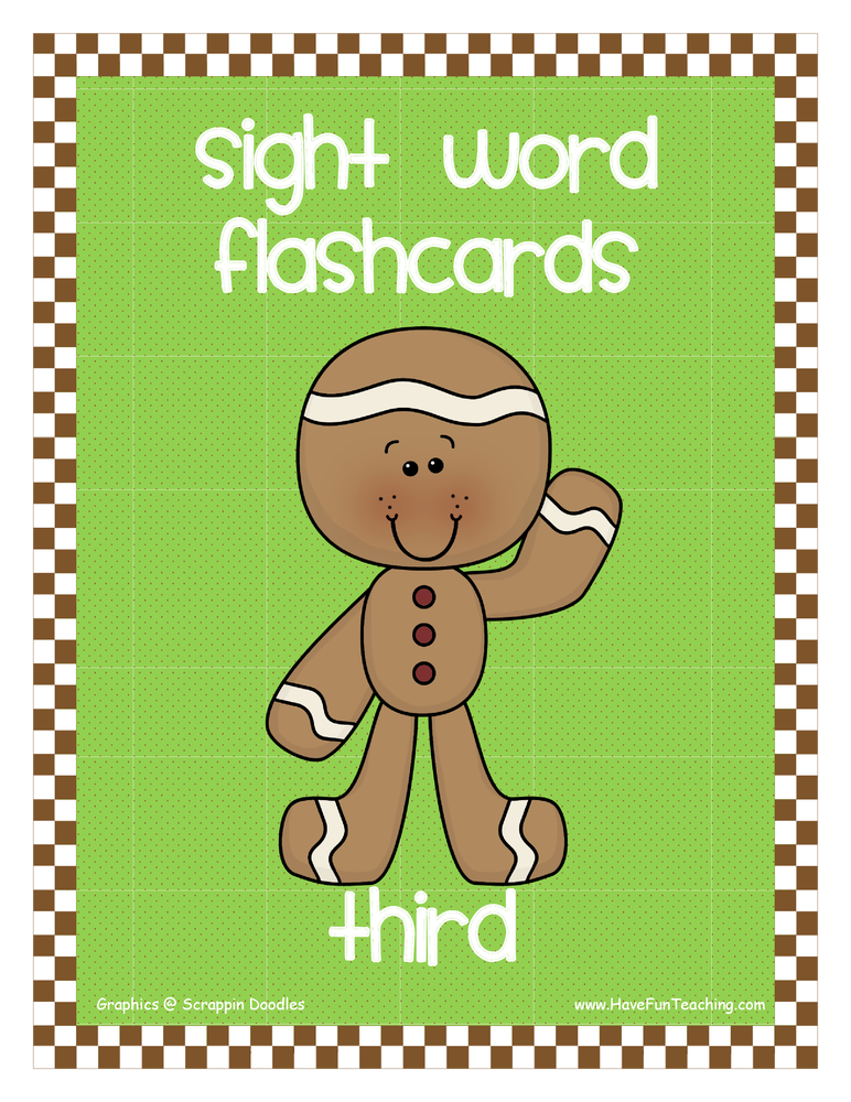 Third Grade Gingerbread Theme Sight Words Flash Cards