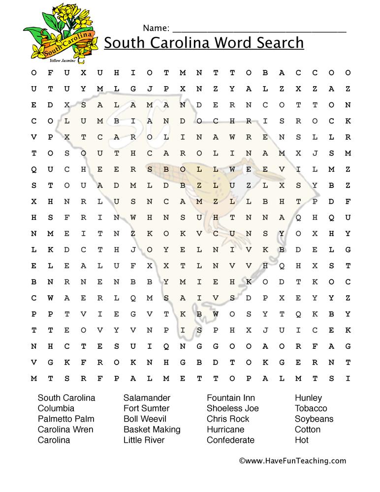 South Carolina Word Search Worksheet